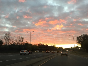 Cotton candy sky on the way into the city.