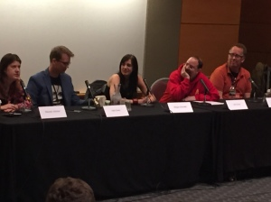 Social media panel. Maureen Johnson, Hank Green, Maggie Stiefvater, John Scalzi, John Moe.